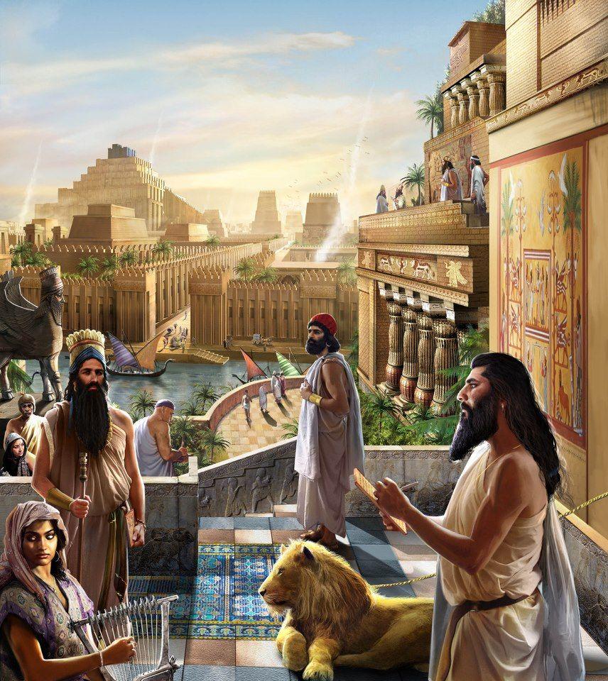 Menschen und Zikkurat im Alten Babylon